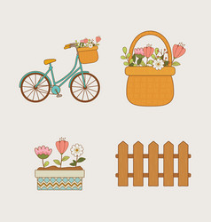 hello spring set icons vector image
