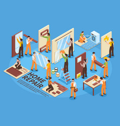 Home repair isometric elements vector