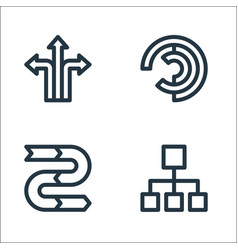 Infographic elements line icons linear set vector