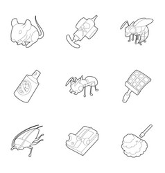 insect icons set outline style vector image