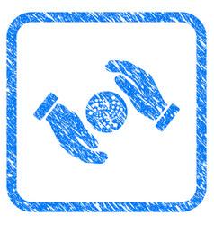 Iota care hands framed stamp vector