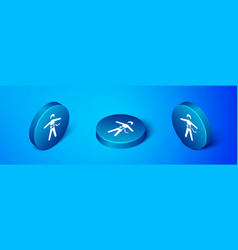 Isometric bungee jumping icon isolated on blue vector