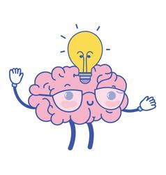 Kawaii happy brain with bulb idea vector