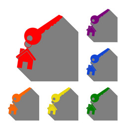 key with keychain as an house sign set of red vector image