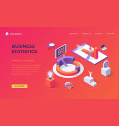 Landing page for business statistics vector