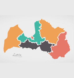 Latvia map with states and modern round shapes vector