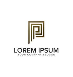 letter p luxury line logo design concept template vector image