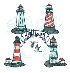 Lighthouse Sketch Set vector image