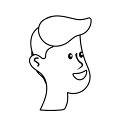 line happy and nice head man with hairstyle vector image