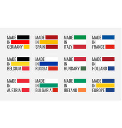 logo set made in germany france italy vector image