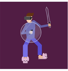 male at home in pajamas in vr glasses vector image