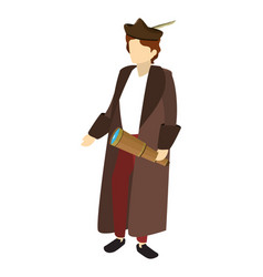Man christopher columbus with monocular and coat vector