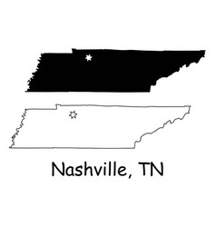 nashville tennessee tn state border usa map vector image