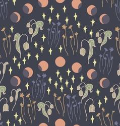 Night garden with stars seamless pattern vector