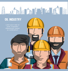 Oil industry with workers and factory icons vector