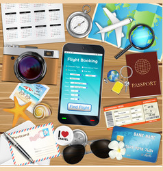 online flight booking app with many travel object vector image