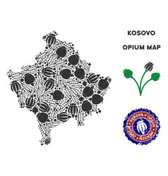 Opium addiction kosovo map mosaic vector