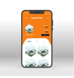 Orange social network profile ui ux gui screen vector