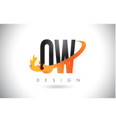 ow o w letter logo with fire flames design and vector image