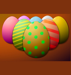 Painted easter eggs brown background vector
