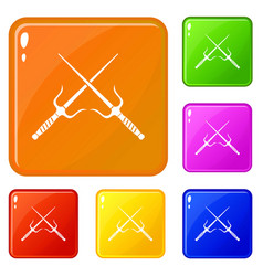 Pair sai icons set color vector