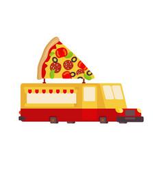 pizza car food truck fast food car vector image