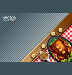 Plate with roasted turkey on transparent vector