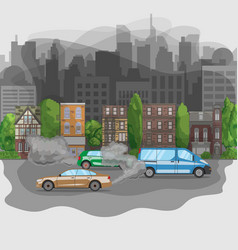 Polluted city from car exhaust fumes smog in town vector