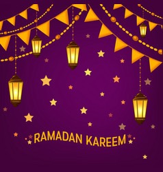 ramadan kareem greeting card layout with mosque vector image