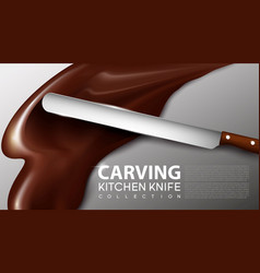 Realistic carving kitchen knife concept vector
