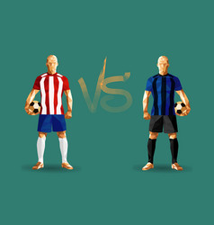 Red and blue soccer players holding vintage vector