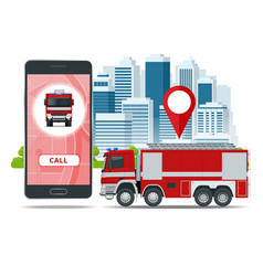 Red fire truck vehicle of emergency call vector