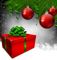 Red gift box and christmas baubles vector image