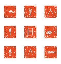 Repair in a row icons set grunge style vector