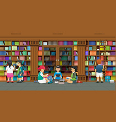 researching in library vector image