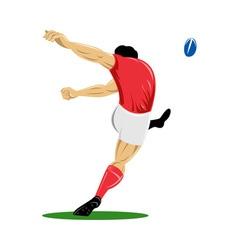 Rugplayer kicking ball vector