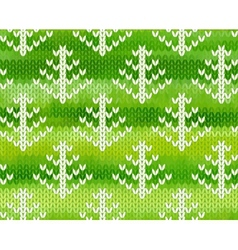 seamless knitted pattern with trees vector image