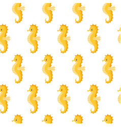 seamless pattern with cute yellow sea horse vector image