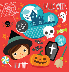 set cute halloween elements objects and icons vector image