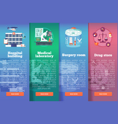 set medical science flat banners vector image