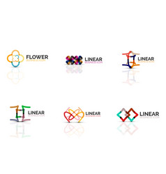 Set of abstract flower or star minimalistic linear vector