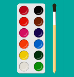 Set of watercolor paints in box with paint brush vector