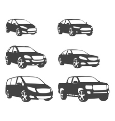 Sets silhouette cars and on road vehicle vector