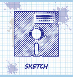 Sketch line floppy disk in 525-inch icon vector