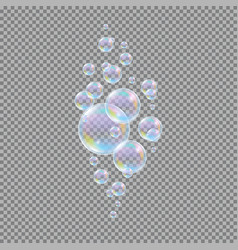 Soap bubbles realistic 3d water soapy balls vector