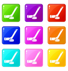 Stick washer ice hockey icons set 9 color vector