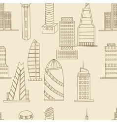 Tall buildings seamless retro vector image