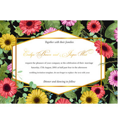 template watercolor floral invitation gerberas vector image