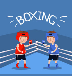 Two boy boxers fighting with gloves at the court vector
