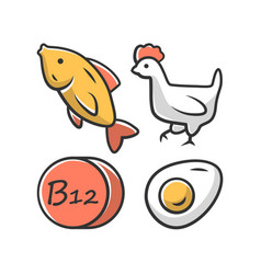 Vitamin b12 color icon fish poultry and egg vector